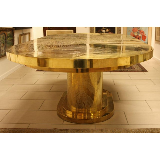 Gold Signed Armand Jonckers Etched Bronze Dining Table For Sale - Image 8 of 9