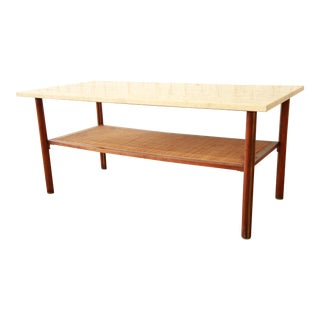 Mid-Century Modern Walnut, Travertine, Cane, and Brass Coffee Table in the Manner of Harvey Probber For Sale