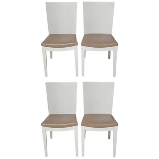 Karl Springer Signed Lizard Embossed Leather Jmf Chairs - Set of 4 For Sale