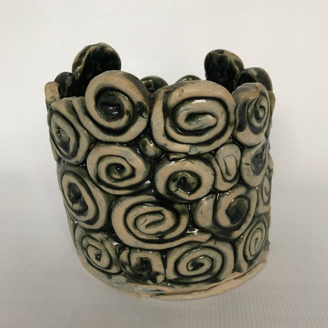 Americana Green Glazed Swirl Pottery Cachepot For Sale - Image 3 of 8
