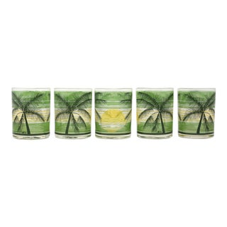 Vintage Palm Trees and Sunset Rocks Cocktail Glasses - Set of 5 For Sale