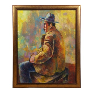 Late 20th Century Modernist Portrait of a Seated Man Oil Painting, Framed For Sale