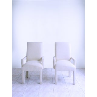 Parsons Armchairs Post Modern Art Deco Inspired Upholstered Chairs - A Pair Preview