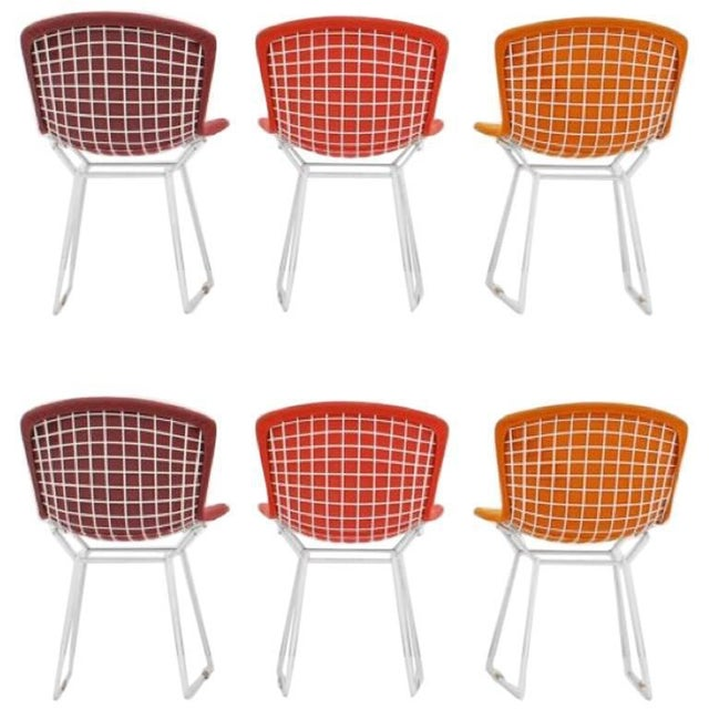 Red Harry Bertoia for Knoll International Early Production Wire Chairs - Set of 6 For Sale - Image 8 of 8
