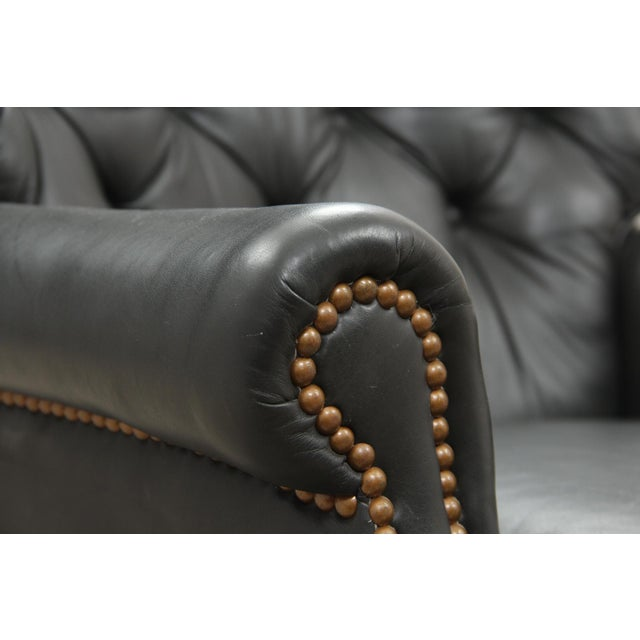 Midcentury Green Leather Armchair and Ottoman - Image 6 of 10