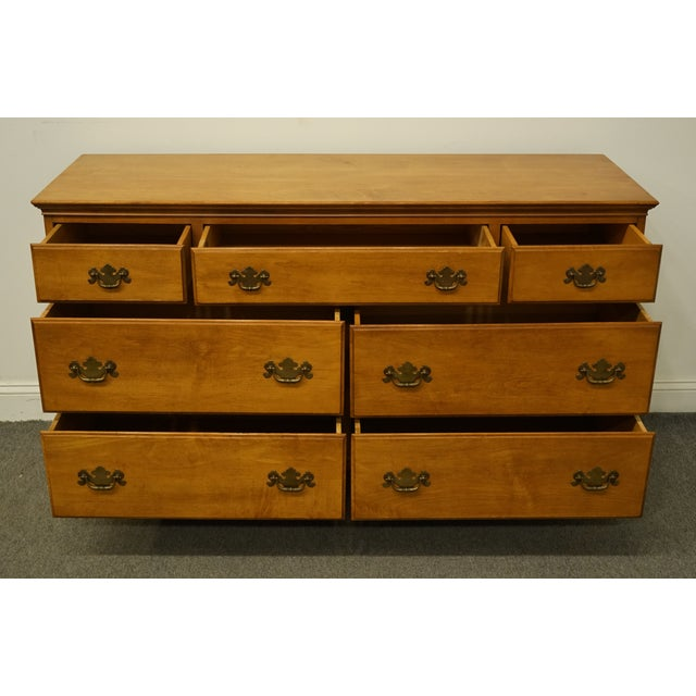 "Statton Trutype Americana Solid Maple Colonial Style 56"" Double Dresser For Sale In Kansas City - Image 6 of 13"