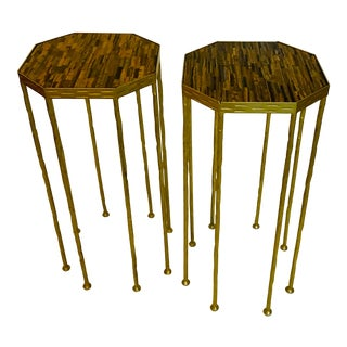 Ojo De Tigre Drink Tables - a Pair For Sale