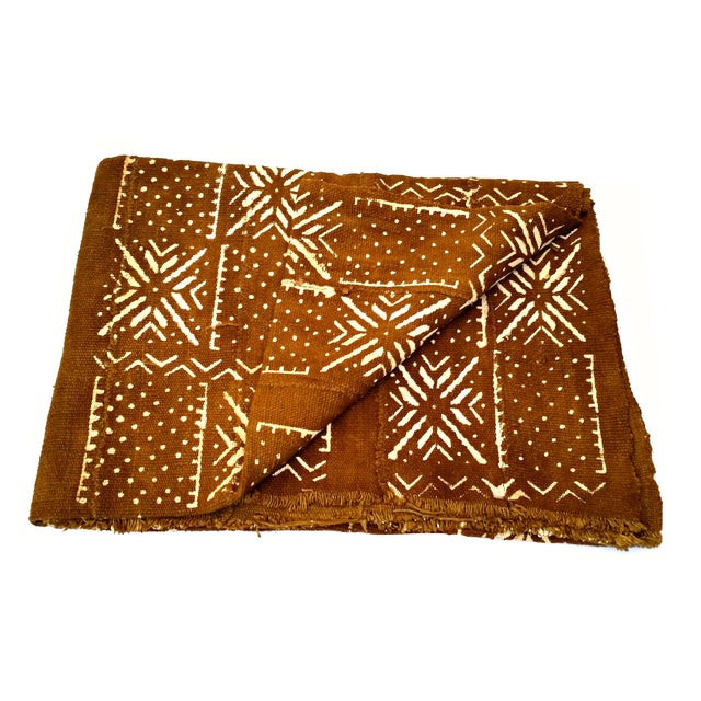 Fabric African MudCloth Brown Rust Textile For Sale - Image 7 of 7