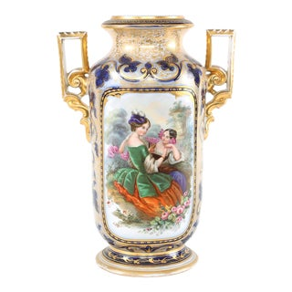 Mid 19th Century French Porcelain Decorative Vase with Side Handles For Sale
