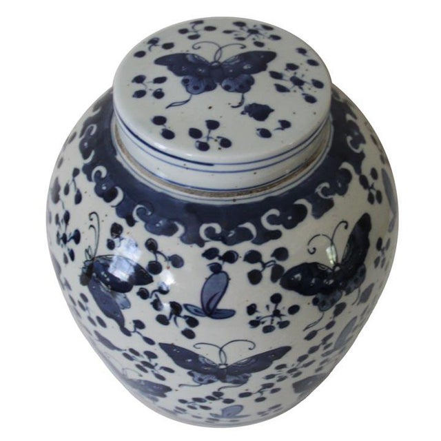 Beautiful blue and white porcelain ginger jar with a butterfly design. Pair them for a stunning look.