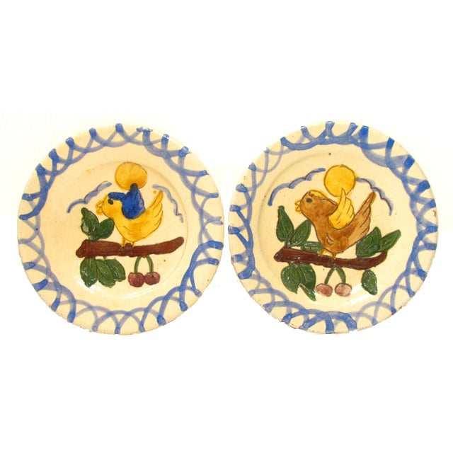 Country Italian Hand-Painted Terra Cotta Plates - Set of 4 For Sale - Image 3 of 5