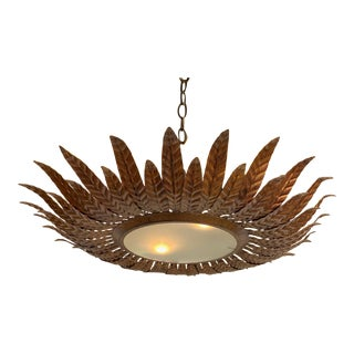 Large Gilt Metal Sunburst Ceiling Fixture With Double Layer Rays For Sale