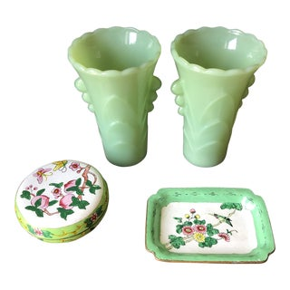 1940s Vintage Jadeite Vases & Vintage Box Collection - 4 Pieces For Sale