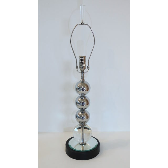 Vintage Chrome and Crystal Sphere Lamp - Image 3 of 5