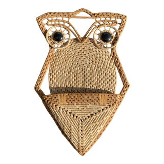 Mid 20th Century Woven Natural Fiber Owl Wall Pocket For Sale