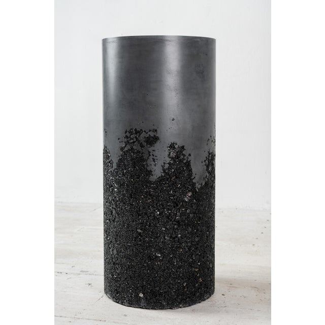 Samuel Amoia Hand Made Tourmaline and Black Plaster Tall Drum, Side Table by Samuel Amoia For Sale - Image 4 of 13