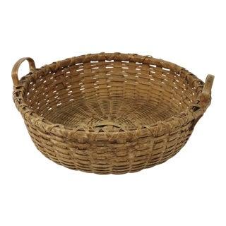 Antique Early American Primitive Hand Woven Ash Splint Basket For Sale
