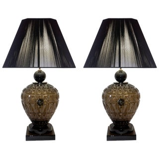 Vivarini 1970s Italian Black and Smoked Murano Glass Lamps - a Pair For Sale