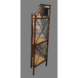 Victorian English Bamboo Corner Shelf With Mirrors Preview