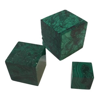 Malachite Square Objects - Set of 3