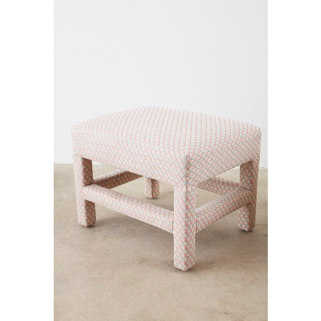 White Milo Baughman Style Parsons Ottoman Benches - a Pair For Sale - Image 8 of 12