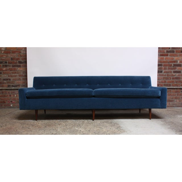 Mid-Century Modern Milo Baughman for Thayer Coggin Walnut Sofa in Blue Mohair For Sale - Image 3 of 13