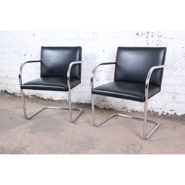 Metal Mies Van Der Rohe for Knoll Black Leather and Chrome Brno Chairs - a Pair For Sale - Image 7 of 7