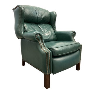 Vintage Bradington Young Chippendale Reclining Wing Chair For Sale