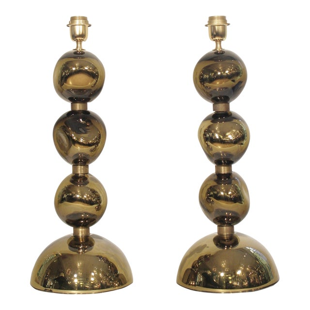 Italian Blown Glass Table Lamps - A Pair For Sale