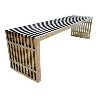 Mid Century Modern Milo Baughman Chrome Slatted Style Bench For Sale