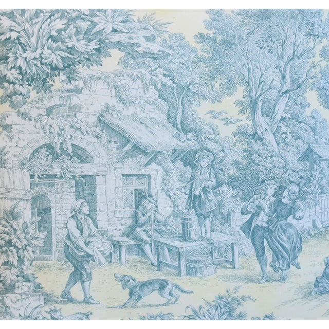 """French Farmhouse Country Toile Feather/Down Pillows 24"""" Square - Pair For Sale - Image 4 of 13"""