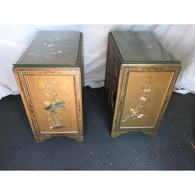 Pair Hollywood Regency Chinese Chinoiserie Chests With Hardstone Decoration For Sale - Image 11 of 11