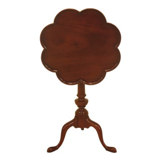 1980s Queen Anne Kittinger Biggs Old Dominion Clover Top Mahogany Table For Sale