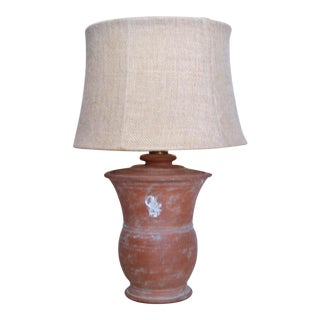 Old Terracotta Apothecary Container Table Lamp For Sale