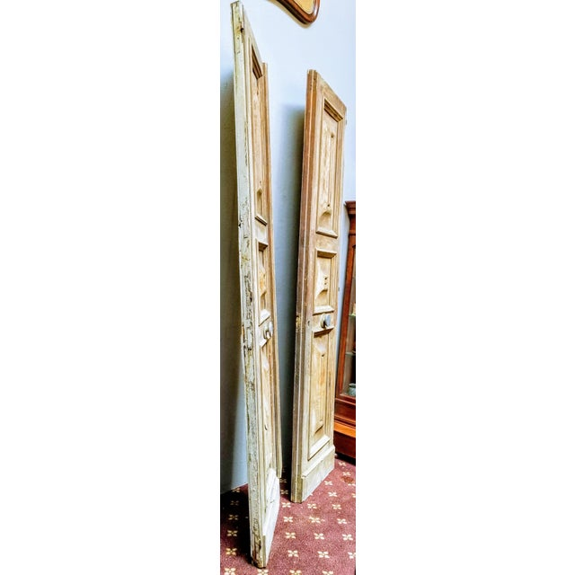 French Oak Haussmann-Paris Era Panel Doors With Cream Painted Backs - a Pair #1 For Sale - Image 4 of 6