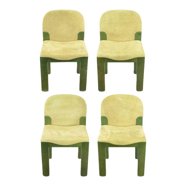 Four Ernesto Radaelli for Saporiti Dining Chairs in Dyed Green Oak and Suede For Sale