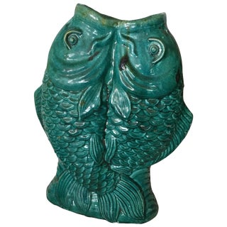 Chinese Double Fish Green Glaze Vase For Sale