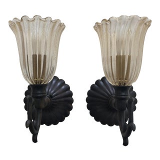 Custom Handcrafted Murano Glass Wall Sconces - A Pair