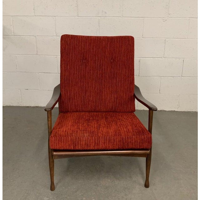 1960s 1960s Vintage Danish Modern High Back Maple Lounge Chair For Sale - Image 5 of 8