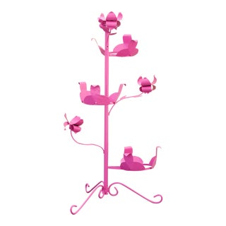 1950s Steel Rosebud Plant Stand, Refinished in Pink For Sale