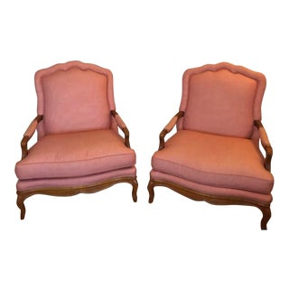 Late 20th Century Baker Furniture Bergere Chairs- a Pair For Sale
