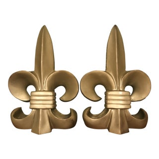 1980s Gold Colored Fleur De Lis Bookends - a Pair For Sale