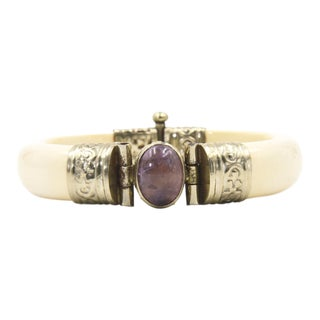 Bone & Amethyst Silver Plate Bangle Bracelet For Sale