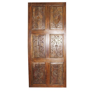 19th Century Antique Carved Wood Barn Door For Sale