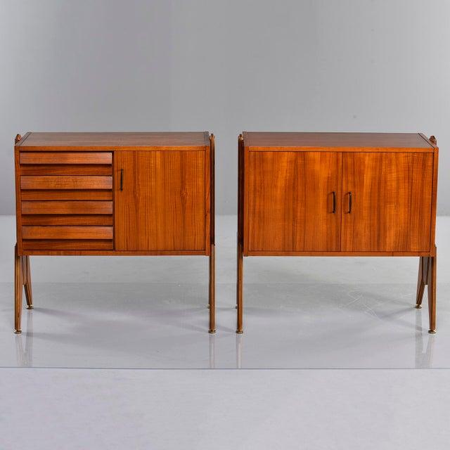 Pair Mid Century Italian Adjustable Height Teak Side Cabinets For Sale - Image 13 of 13