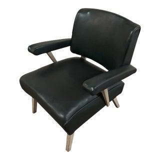 Mid Century Modern Dark Green Vinyl Arm Chair by Viking Artline For Sale