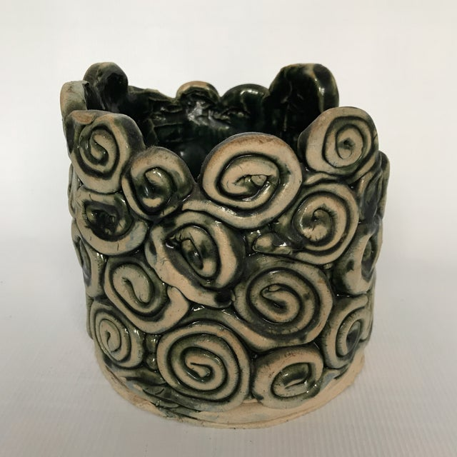 Green Glazed Swirl Pottery Cachepot For Sale - Image 4 of 8