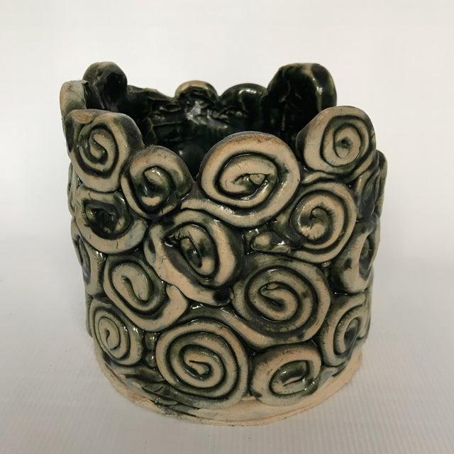 Green Glazed Swirl Pottery Cachepot - Image 4 of 8