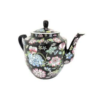 20th Century Vintage Famille Noire Porcelain Black Flower Chinese Teapot For Sale