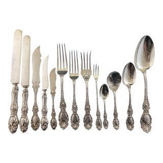 Lucerne by Wallace Sterling Silver Flatware Set Service Fitted Box 205 Pieces For Sale
